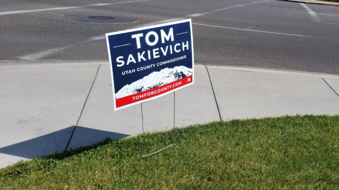 Image of Tom Sakievich campaign sign